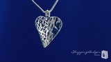Half Hammered Heart Pendant Necklace in Sterling Silver, 18 inch