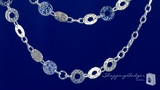 """Hammered Circle Necklace in Sterling Silver, 38"""""""