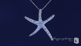 """Large CZ Starfish Necklace in Sterling Silver, Adjustable 16""""-18"""""""