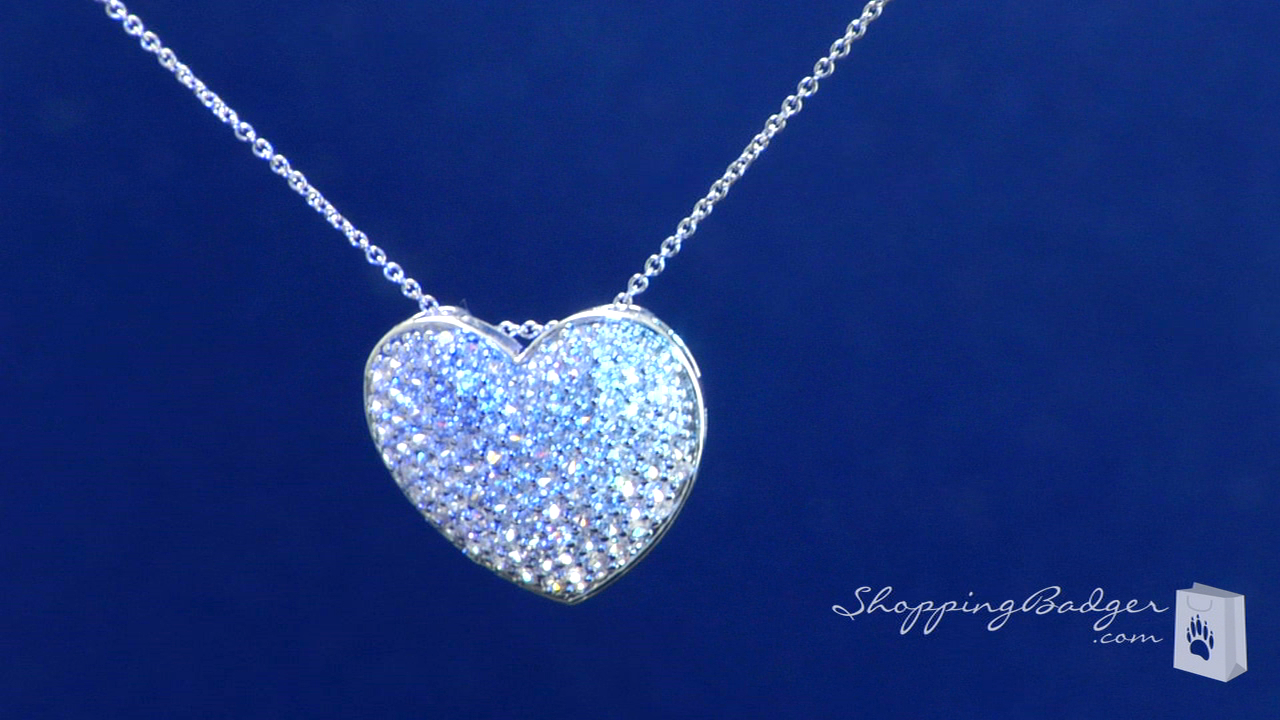 Large pave cubic zirconia heart pendant necklace in sterling silver large pave cubic zirconia heart pendant necklace in sterling silver adjustable 16 18 mozeypictures Gallery