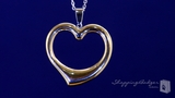 """Large Reversible Open Heart Necklace in Sterling Silver & 14K Yellow Gold, 18"""""""
