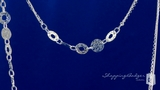 """Layered Hammered Disk Necklace in Sterling Silver, 32"""""""