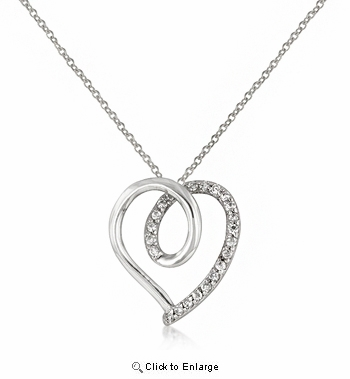 Loop Heart Pendant, White Gold Plated Sterling with CZs