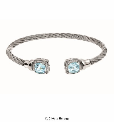 Montreaux Stainless Steel and Silver Cuff Bangle with Square Blue Topaz and Diamond