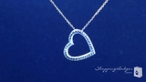 """Pave Diamond Cut Floating Heart Necklace in 14K Gold, 18"""""""