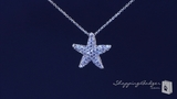 """Petite CZ Starfish Necklace in Sterling Silver, Adjustable 16""""-18"""""""