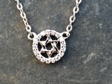 Petite Silver and CZ Star of David Necklace