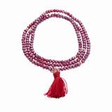 Rose Gold and Red Crystal Stretch Tassel Bracelet / Necklace