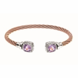 Montreaux Rose Gold Plated Stainless Steel and Silver Cuff Bangle with Square Amethyst and Diamond