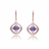 Rose Gold Plated Sterling Silver CZ and Amethyst Euro Earrings