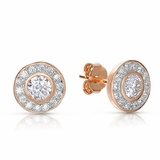 Rose Gold Plated Sterling Silver Round CZ Stud Earrings