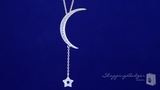 """Sex and the City 2 Inspired CZ Moon and Star Necklace in Sterling Silver, 16"""""""