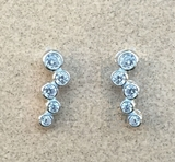 Silver and CZ Bubble Earrings
