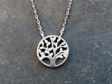 Silver and CZ Tree of Life Necklace