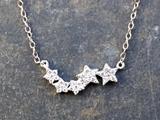 Silver CZ Five Star Necklace
