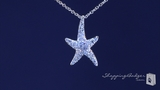 """Small Cubic Zirconia Starfish Necklace in Sterling Silver, 16"""""""