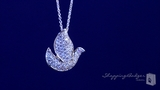 """Small Pave CZ Dove Necklace in Sterling Silver, Adjustable 16""""-18"""""""