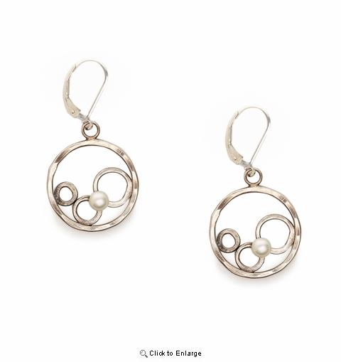 0d0f9bc76072c Sterling Open Circle Earrings with White Pearl Inside Circle Design