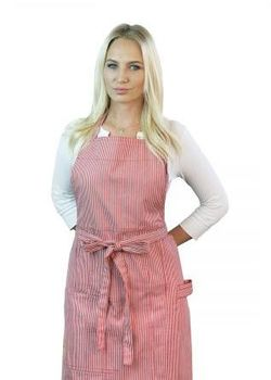 Combed Cotton Red Stripe Patch Pocket Bib Apron