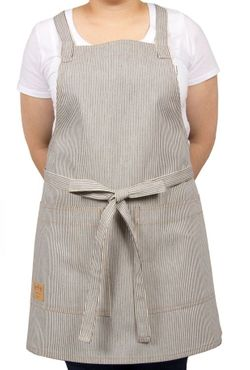 Cotton Railroad Stripe Cross-Back Bib Apron