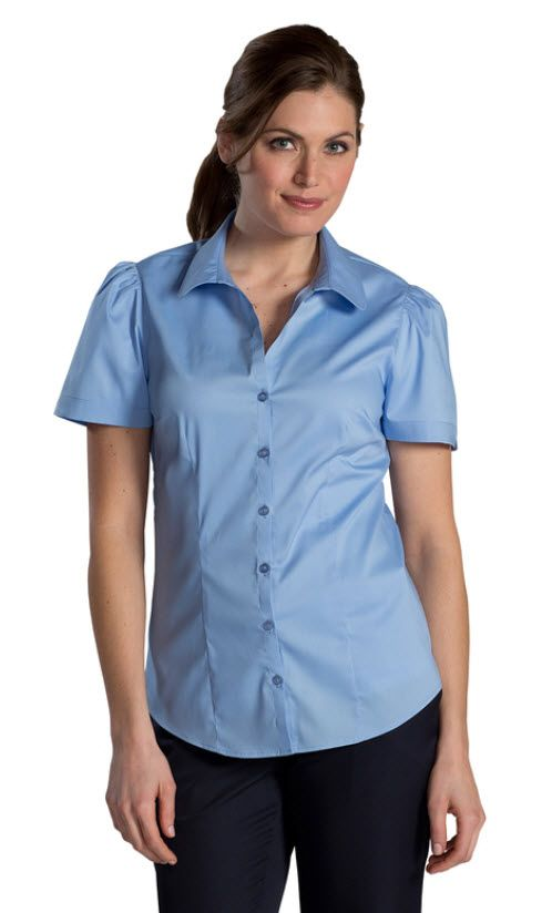 f762ee580b7 Ladies Front Desk Open Neck Blouse - Short Sleeves