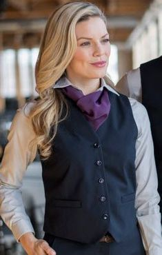 Ladies High Button Poly/Wool Vest