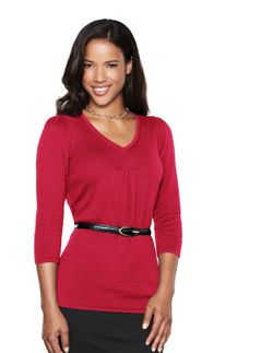 Ladies V-Neck Ruching Sweater (Discontinued may NOT be returned or exchanged)