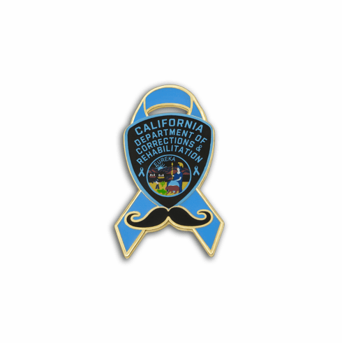 Blue Ribbon - CDCR Shield & Mustache Lapel Pin