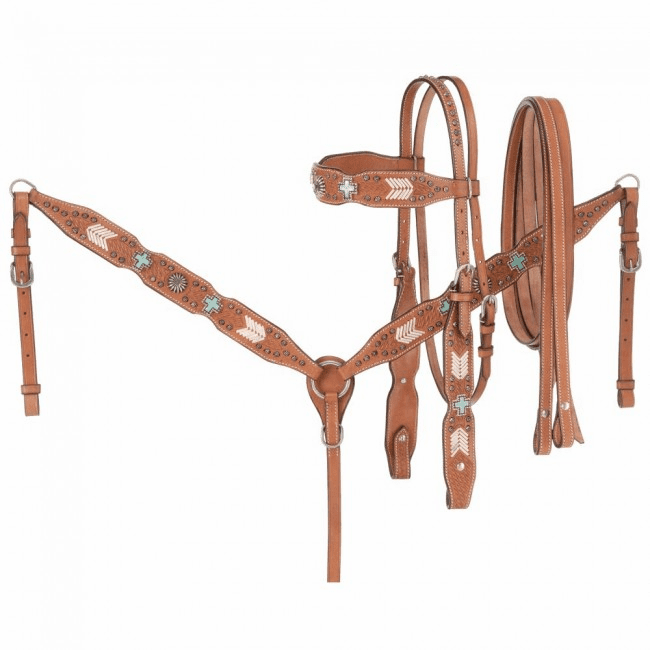 3 Piece Silver Show Set - Wide Brow Headstall, Breastcollar, and Rein Set w/ Turquoise Cross