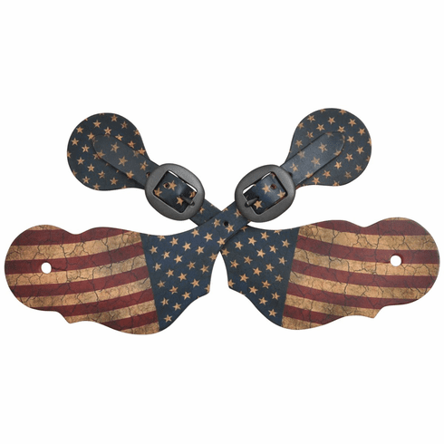 3D Red, White & Blue Large Spur Straps
