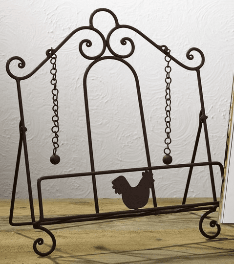 Antique Brown Rooster Metal Cookbook Stand