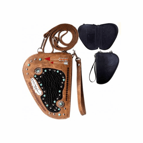 Arrow Embroidery Crossbody Gun Holster Shaped Conceal Carry Pouch-Tan