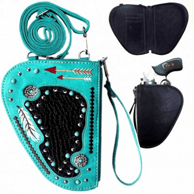 Arrow Embroidery Crossbody Gun Holster Shaped Conceal Carry Pouch-Turquoise