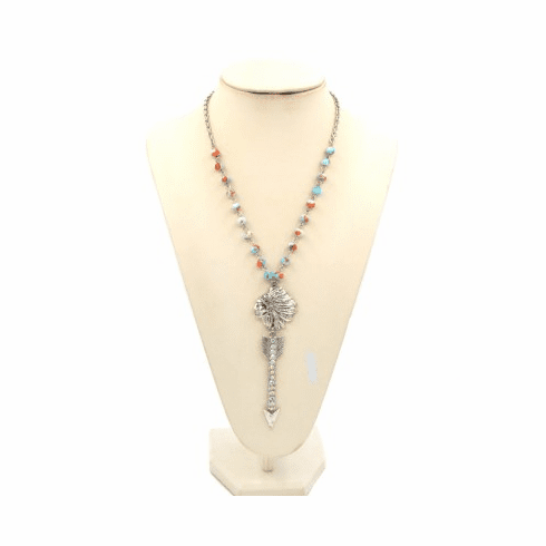 """Arrow Indian Chief Theme Glass Bead 30"""" Long Necklace-Blue"""