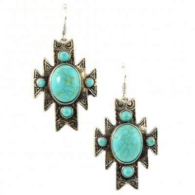 Aztec Earring - Silver/Turquoise