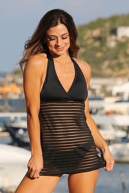 Black Sheer Stripes Swim Dress Swimsuit Black Regular - Plus Size