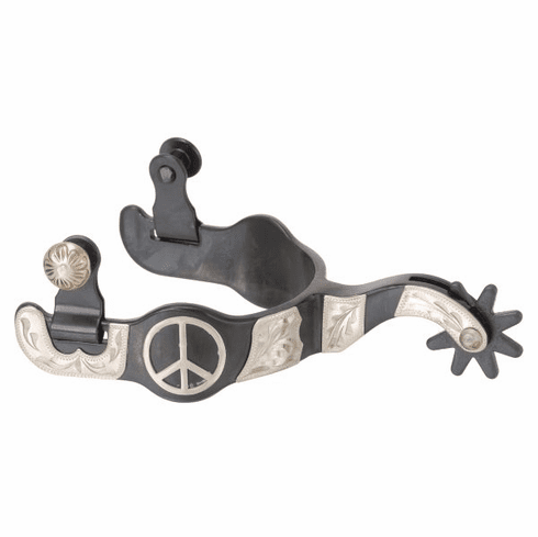 Black Steel Ladies Spurs with Engraved Silver Peace Sign Overlay -