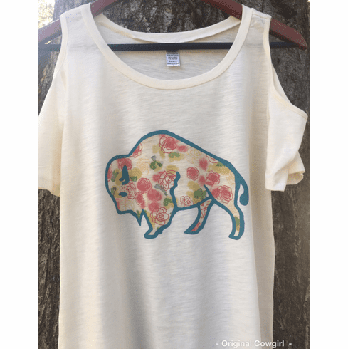 Buffalo Cactus Rose Cold Shoulder Top TJ-2049 Ivory