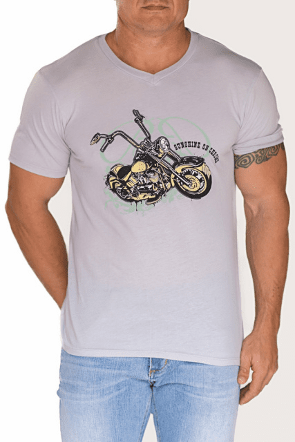 Bullet Blues Sunshine On Chrome Designer T-Shirt Made in USA Grey