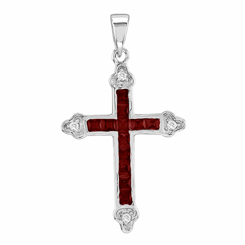 Channel Cross Necklace - Red