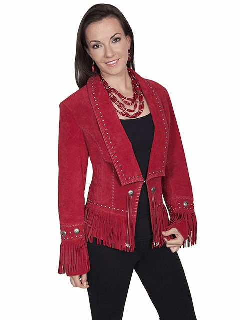 Classic Long Lapel Suede Jacket Red