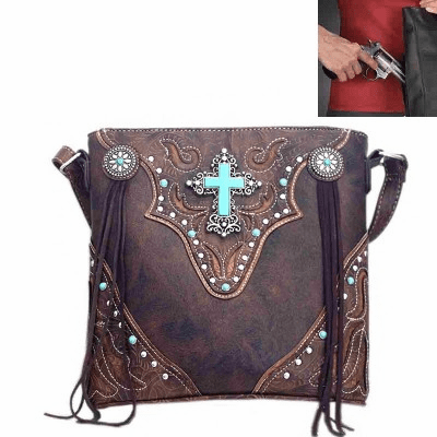 Concealed Carry Spiritual Cross Fringe Crossbody Bag-Brown