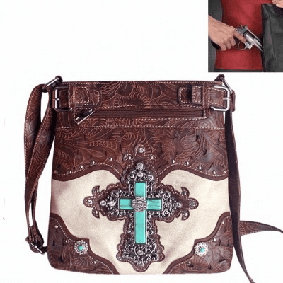 Concealed Carry Spiritual Cross Tooling Crossbody Bag-Beige