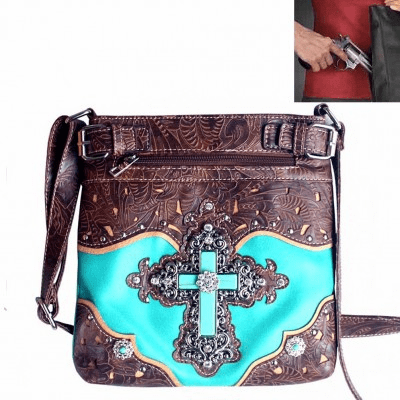 Concealed Carry Spiritual Cross Tooling Crossbody Bag-Turquoise