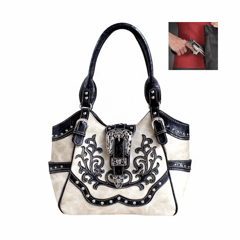 Concealed Carry Western Buckle Embroidery Hobo Bag - Beige