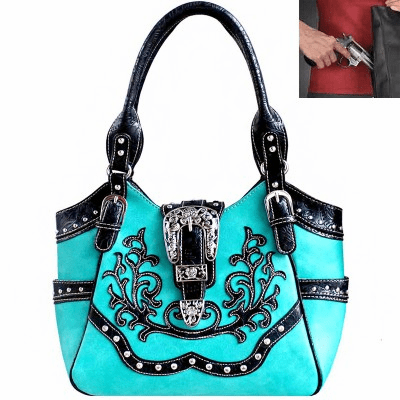 Concealed Carry Western Buckle Embroidery Hobo Bag-Turquoise