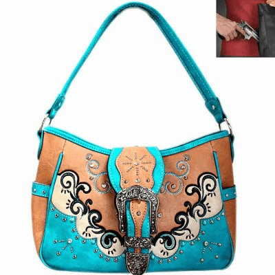 Concealed Carry Western Buckle Studded Hobo Shoulder Bag-Bone