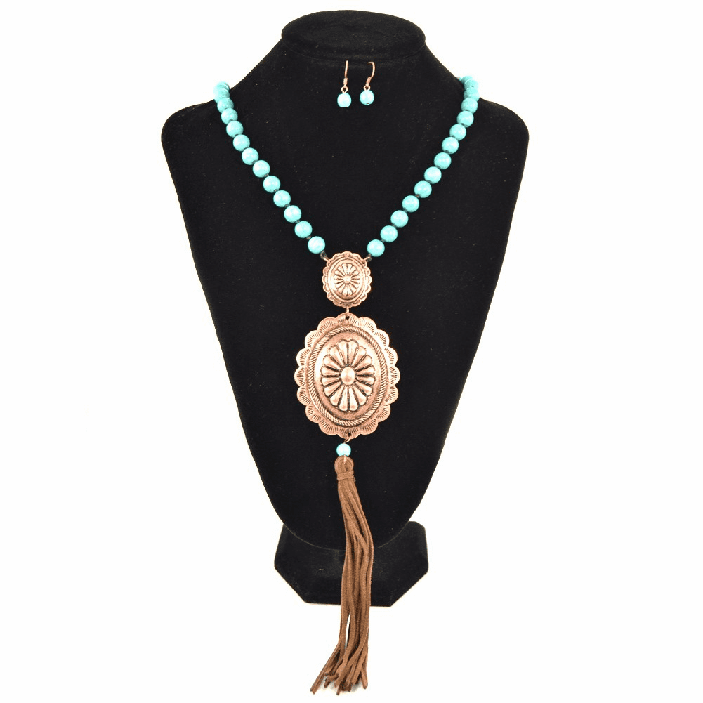 Concho Necklace Earring Set Bronze