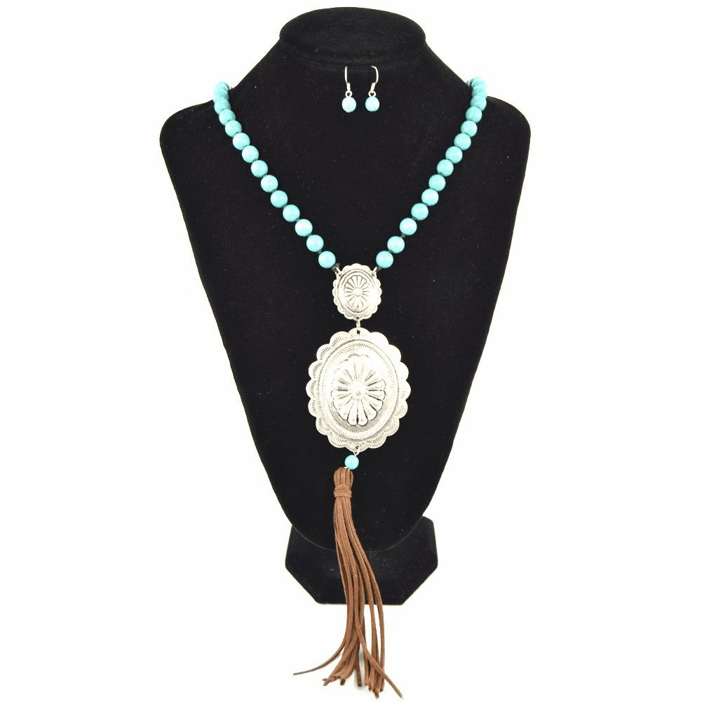 Concho Necklace Earring Set Silver