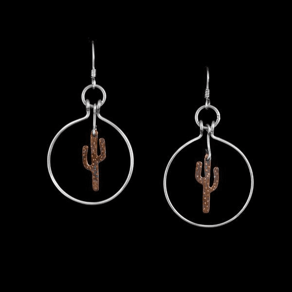 COPPER CACTUS STERLING HOOPS